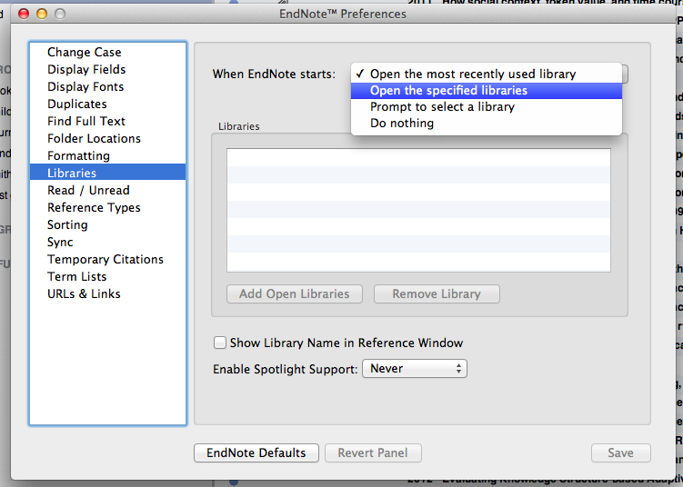 Set default Library in EndNote