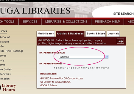 Library home page - select 'German' under the 'Articles and Databases' menu